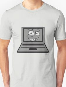 face, comic cartoon grin computer laptop notebook pc write screen mobile tablet T-Shirt