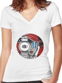 Zion T - Red Light Women's Fitted V-Neck T-Shirt