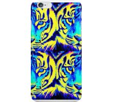 Modern digital tigers in turquoise purple and yellow iPhone Case/Skin