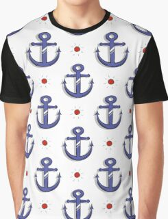 Blue Anchors Seamless Pattern Graphic T-Shirt