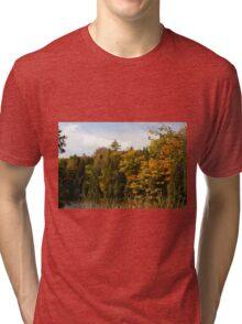 Early Fall Season around the lake. Tri-blend T-Shirt