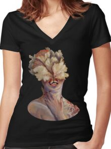 nude portrait Women's Fitted V-Neck T-Shirt