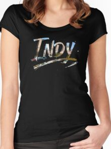 Indianapolis - Indy Grunge Brush Typography Women's Fitted Scoop T-Shirt