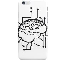 Connecting thinking brain power plug electronically smart electro funny cyborg circuitry iPhone Case/Skin