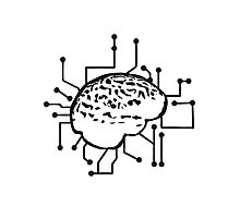 Connecting thinking brain power plug electronically smart electro funny cyborg circuitry Photographic Print