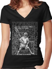 Word Montage-D'FENSE (border) Women's Fitted V-Neck T-Shirt