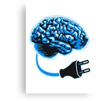 power plug connector think brain electronically clever electro funny cyborg Canvas Print