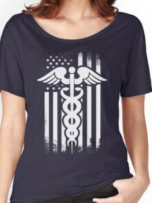 Nurses Caduceus Vintage Flag Women's Relaxed Fit T-Shirt