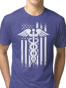 Nurses Caduceus Vintage Flag Tri-blend T-Shirt