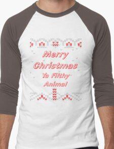 ugly christmas sweater merry christmas ya filthy animal Men's Baseball ¾ T-Shirt