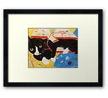 George Myrick - Christmas Bag Cat Framed Print