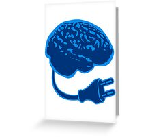 power plug connector think brain electronically clever electro funny cyborg Greeting Card