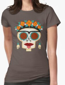 Frida Skelly with Earrings Womens Fitted T-Shirt