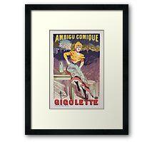 "Vintage Poster for the play ""Gigolette""  Framed Print"