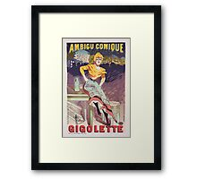 "Vintage Poster for the play ""Gigolette""  Framed Print"