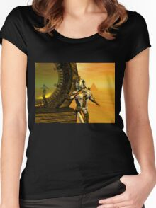 CYBORG TITAN IN THE DESERT OF HYPERION Sci-Fi Movie Women's Fitted Scoop T-Shirt