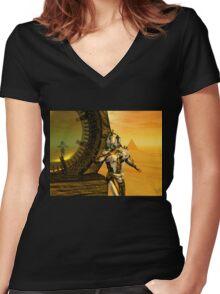 CYBORG TITAN IN THE DESERT OF HYPERION Sci-Fi Movie Women's Fitted V-Neck T-Shirt
