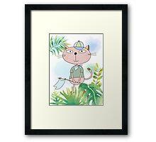 Cute Cartoon Animals Hiking Safari Cat Framed Print