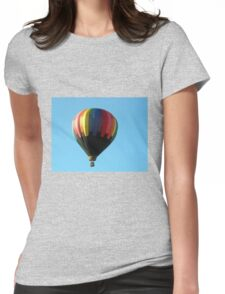 Hot air balloon floating in the air.  Womens Fitted T-Shirt