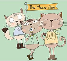 Cute Cartoon Animals Funny Cats Meow Club Photographic Print