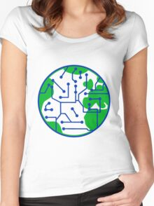 earth technology networked data information electronically future technology future planet Women's Fitted Scoop T-Shirt