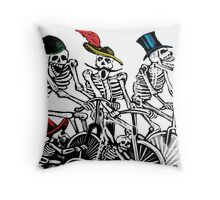 Calavera Cyclists Throw Pillow