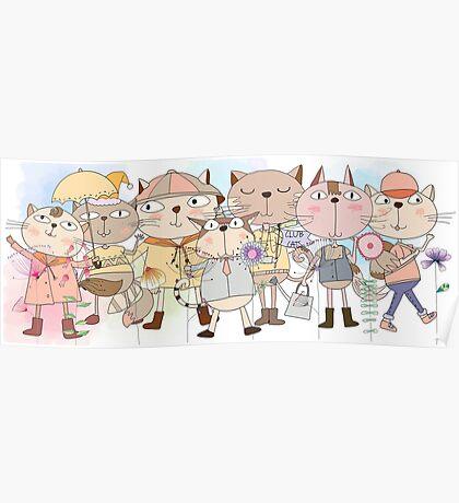 Cute Cartoon Animals Club Cats  Poster