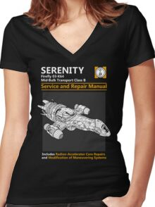 Shiny Service and Repair Manual Women's Fitted V-Neck T-Shirt