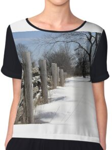 Wooden Fence. Christmas. New Year. Chiffon Top