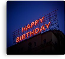Neon sign birthday card Canvas Print