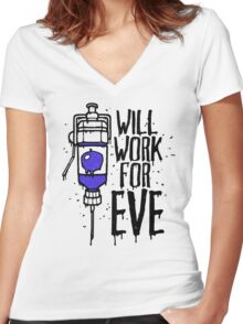 Will Work For Eve Women's Fitted V-Neck T-Shirt