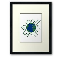 earth planet home blue sphere electric electronic future virtually networked lines microchip technology Framed Print