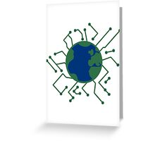 earth planet home blue sphere electric electronic future virtually networked lines microchip technology Greeting Card