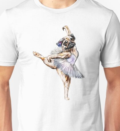 Pug Ballerina Colorful Unisex T-Shirt