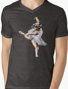 Pug Ballerina Colorful Mens V-Neck T-Shirt