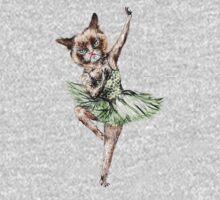 Kitty Ballerina in Cat Ballet imitating Swan Lake Siamese Green Gold Blue Pink  One Piece - Long Sleeve