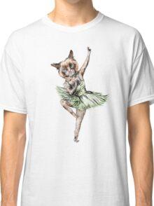Kitty Ballerina in Cat Ballet imitating Swan Lake Siamese Green Gold Blue Pink  Classic T-Shirt