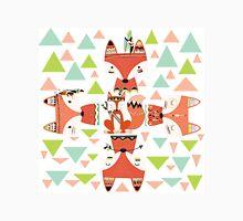 Cartoon Animals Tribal Woodland Foxes Unisex T-Shirt