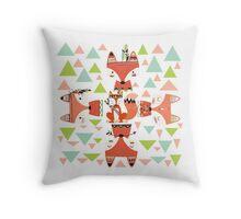 Cartoon Animals Tribal Woodland Foxes Throw Pillow