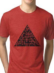 triangular shape microchip technology cool design pattern black Tri-blend T-Shirt