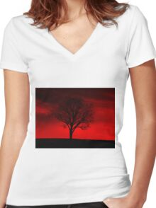 Red Tree Women's Fitted V-Neck T-Shirt