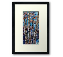 Aspen forest in the Rocky Mountains (Palette Knife) Framed Print