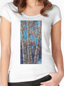 Aspen forest in the Rocky Mountains (Palette Knife) Women's Fitted Scoop T-Shirt
