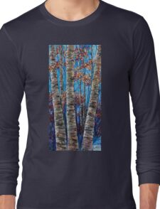 Aspen forest in the Rocky Mountains (Palette Knife) Long Sleeve T-Shirt