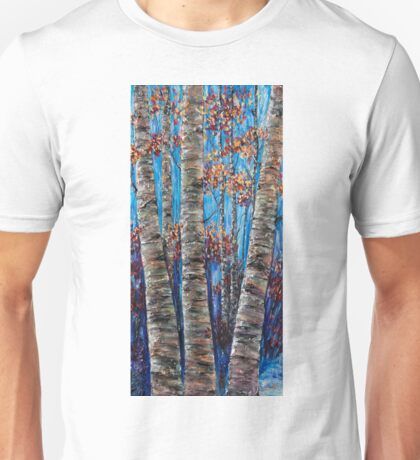 Aspen forest in the Rocky Mountains (Palette Knife) Unisex T-Shirt