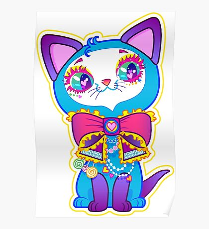 Kawaii and cute Blue Crystal Kitty  Poster