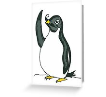 Penguin Waving with Moustache Greeting Card