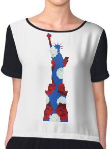 Statue of Liberty USA Floral Flag Chiffon Top