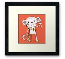 Cute Cartoon Animals Tribal Monkey Framed Print