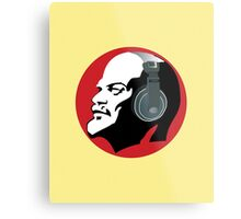 Lenin with Headphones (Yellow and Red) Metal Print